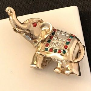 Vintage Elephant Pin Red & Green Crystals 9A